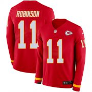 Wholesale Cheap Nike Chiefs #11 Demarcus Robinson Red Team Color Youth Stitched NFL Limited Therma Long Sleeve Jersey
