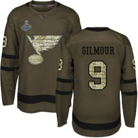 Wholesale Cheap Adidas Blues #9 Doug Gilmour Green Salute to Service Stanley Cup Champions Stitched NHL Jersey