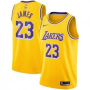 Wholesale Cheap Men's Nike Los Angeles Lakers #23 LeBron James Purple Number Yellow Stitched NBA Jersey