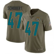 Wholesale Cheap Nike Jaguars #47 Joe Schobert Olive Youth Stitched NFL Limited 2017 Salute To Service Jersey