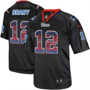 Wholesale Cheap Nike Patriots #12 Tom Brady Lights Out Black Men's Stitched NFL Elite Strobe Jersey