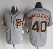 Wholesale Cheap Giants #40 Madison Bumgarner Grey Road 2 New Cool Base Stitched MLB Jersey