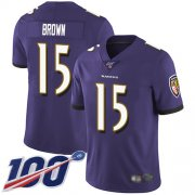 Wholesale Cheap Nike Ravens #15 Marquise Brown Purple Team Color Men's Stitched NFL 100th Season Vapor Limited Jersey