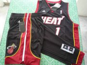 Wholesale Cheap Miami Heat 1 Bosh black swingman Basketball Suit