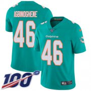 Wholesale Cheap Nike Dolphins #46 Noah Igbinoghene Aqua Green Team Color Men's Stitched NFL 100th Season Vapor Untouchable Limited Jersey