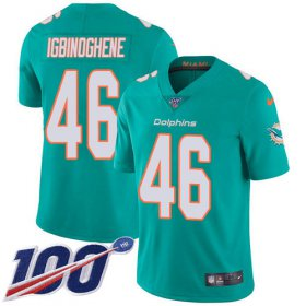 Wholesale Cheap Nike Dolphins #46 Noah Igbinoghene Aqua Green Team Color Men\'s Stitched NFL 100th Season Vapor Untouchable Limited Jersey