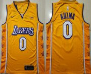 Wholesale Cheap Men's Los Angeles Lakers #0 Kyle Kuzma Yellow 2020 Nike City Edition Swingman Jersey With The Sponsor Logo