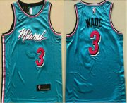 Wholesale Cheap Men's Miami Heat #3 Dwyane Wade Light Blue 2019 City Edition AU Swingman ALL Stitched NBA Jersey