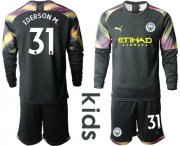 Wholesale Cheap Manchester City #31 Ederson M. Black Goalkeeper Long Sleeves Kid Soccer Club Jersey