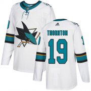 Wholesale Cheap Adidas Sharks #19 Joe Thornton White Road Authentic Stitched Youth NHL Jersey