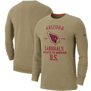 Wholesale Cheap Men's Arizona Cardinals Nike Tan 2019 Salute to Service Sideline Performance Long Sleeve Shirt