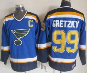 Wholesale Cheap Blues #99 Wayne Gretzky Light Blue CCM Throwback Stitched NHL Jersey