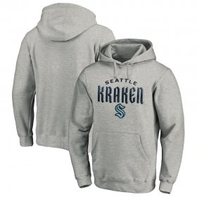 Wholesale Cheap Seattle Kraken Team Lockup Pullover Hoodie Heather Gray