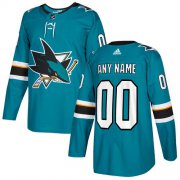 Wholesale Cheap Men's Adidas Sharks Personalized Authentic Teal Green Home NHL Jersey