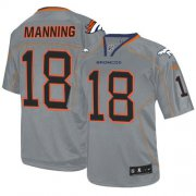 Wholesale Cheap Nike Broncos #18 Peyton Manning Lights Out Grey Men's Stitched NFL Elite Jersey