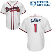 Wholesale Cheap Braves #1 Ozzie Albies White New Cool Base Stitched MLB Jersey