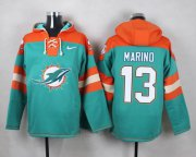 Wholesale Cheap Nike Dolphins #13 Dan Marino Aqua Green Player Pullover NFL Hoodie