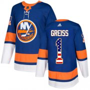 Wholesale Cheap Adidas Islanders #1 Thomas Greiss Royal Blue Home Authentic USA Flag Stitched NHL Jersey