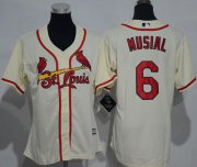Wholesale Cheap Cardinals #6 Stan Musial Cream Alternate Women's Stitched MLB Jersey