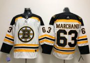 Wholesale Cheap Adidas Bruins #63 Brad Marchand White Road Authentic Stitched NHL Jersey