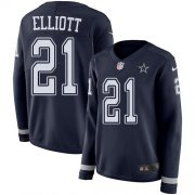 Wholesale Cheap Nike Cowboys #21 Ezekiel Elliott Navy Blue Team Color Women's Stitched NFL Limited Therma Long Sleeve Jersey