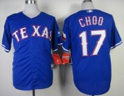 Wholesale Cheap Rangers #17 Shin-Soo Choo Blue Cool Base Stitched MLB Jersey