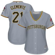 Wholesale Cheap Pirates #21 Roberto Clemente Grey Road Women's Stitched MLB Jersey