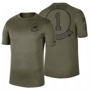 Wholesale Cheap Carolina Panthers #1 Cam Newton Olive 2019 Salute To Service Sideline NFL T-Shirt