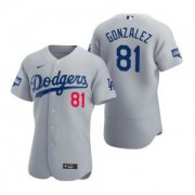 Wholesale Cheap Los Angeles Dodgers #81 Victor Gonzalez Gray 2020 World Series Champions Jersey
