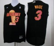 Wholesale Cheap Miami Heat #3 Dwyane Wade 2013 NBA Champions Black Fashion Jersey