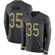 Wholesale Cheap Nike Buccaneers #35 Jamel Dean Anthracite Salute to Service Men's Stitched NFL Limited Therma Long Sleeve Jersey