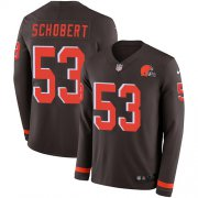 Wholesale Cheap Nike Browns #53 Joe Schobert Brown Team Color Men's Stitched NFL Limited Therma Long Sleeve Jersey