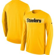 Wholesale Cheap Pittsburgh Steelers Nike Sideline Seismic Legend Long Sleeve T-Shirt Gold