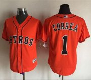 Wholesale Cheap Astros #1 Carlos Correa Orange New Cool Base Stitched MLB Jersey