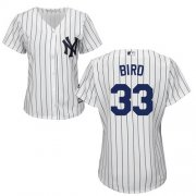 Wholesale Cheap Yankees #33 Greg Bird White Strip Home Women's Stitched MLB Jersey