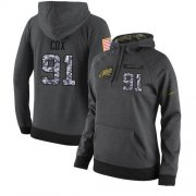 Wholesale Cheap NFL Women's Nike Philadelphia Eagles #91 Fletcher Cox Stitched Black Anthracite Salute to Service Player Performance Hoodie