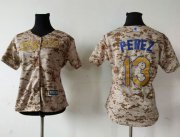 Wholesale Cheap Royals #13 Salvador Perez Camo Women's Fashion Stitched MLB Jersey