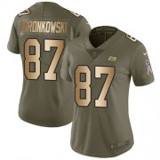 Wholesale Cheap Nike Buccaneers #87 Rob Gronkowski Olive/Gold Women's Stitched NFL Limited 2017 Salute To Service Jersey