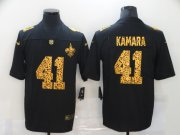Wholesale Cheap Men's New Orleans Saints #41 Alvin Kamara Black Leopard Print Fashion Vapor Limited Nike NFL Jersey