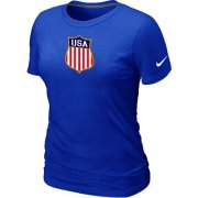 Wholesale Cheap Women's Nike Team USA Hockey Winter Olympics KO Collection Locker Room T-Shirt Blue