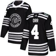 Wholesale Cheap Adidas Blackhawks #4 Bobby Orr Black Authentic 2019 Winter Classic Stitched NHL Jersey