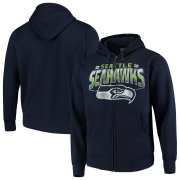 Wholesale Cheap Seattle Seahawks G-III Sports by Carl Banks Perfect Season Full-Zip Hoodie College Navy