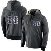 Wholesale Cheap NFL Men's Nike Oakland Raiders #80 Jerry Rice Stitched Black Anthracite Salute to Service Player Performance Hoodie