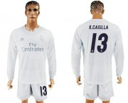 Wholesale Cheap Real Madrid #13 K.Casilla Marine Environmental Protection Home Long Sleeves Soccer Club Jersey