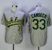 Wholesale Cheap Mitchell And Ness Athletics #33 Jose Canseco Grey Throwback Stitched MLB Jersey