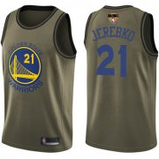 Wholesale Cheap Warriors #21 Jonas Jerebko Green 2019 Finals Bound Basketball Swingman Salute to Service Jersey