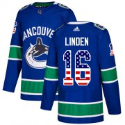 Wholesale Cheap Adidas Canucks #16 Trevor Linden Blue Home Authentic USA Flag Youth Stitched NHL Jersey