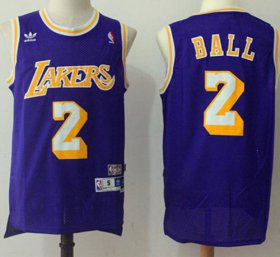 Wholesale Cheap Los Angeles Lakers #2 Lonzo Ball Purple Throwback Stitched NBA Jersey