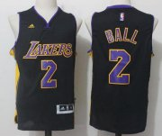Wholesale Cheap Men's 2017 Draft Los Angeles Lakers #2 Lonzo Ball Black Stitched NBA adidas Revolution 30 Swingman Jersey