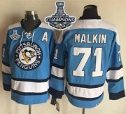 Wholesale Cheap Penguins #71 Evgeni Malkin Blue Alternate CCM Throwback 2017 Stanley Cup Finals Champions Stitched NHL Jersey